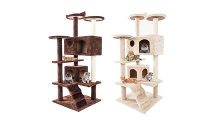 """Go Pet Club Cat Activity Condo 52"""" Cat Tree Furniture Beige/Brown"""