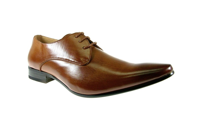 Men's Brown Derby Pointy Toe Oxford Lace Up Dress Shoes 98101