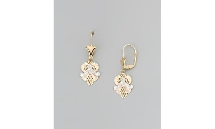 18k Gold Plated Three Tone Upside Down Fleur De Lis Drop Earring