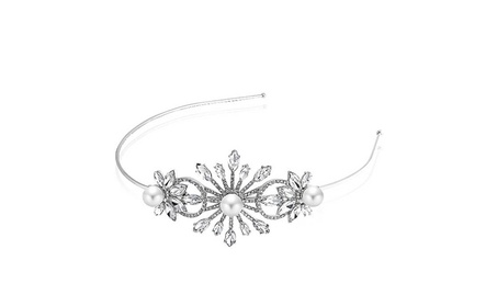 Bling Jewelry Simulated Pearl Flower Stone Headband Rhodium Plated 3ba4cc1c-6363-4996-bee9-dbcc5d5adf99
