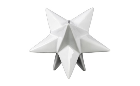 Ceramic Stellated Dodecahedron Sculpture Large Gloss Finish White 61d55fc0-5a3d-4225-8afe-28fcb42b2b51
