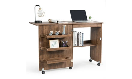 Costway Folding Sewing Craft Table Shelf Storage Cabinet Home Furniture Brown