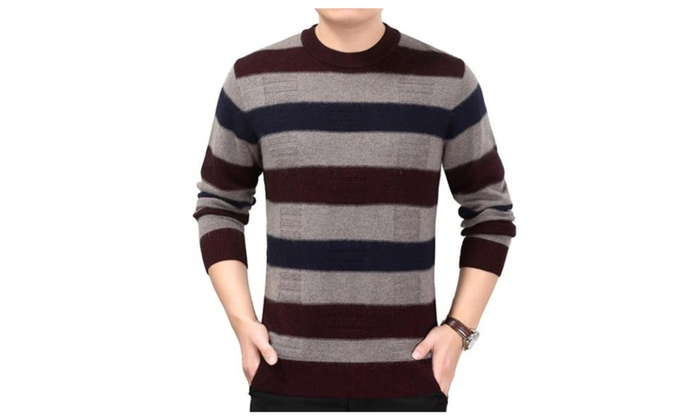 Men's Casual Long Sleeve Casual Printed Striped Pullovers