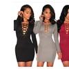 Womens V-neck Long Sleeve Stretch Bodycon Party Mini Dress