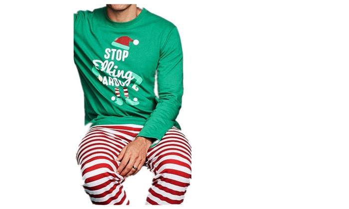 Mens Christmas Pajamas.Stop Elfing Around Printed Men Christmas Winter Pajamas Set