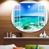 Open Window to Wavy Ocean' Extra Large Seashore Metal Circle Wall Art