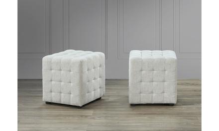 Ava Fabric Tufted Cube Ottoman - 2-piece Set