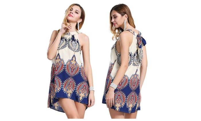 Women Casual Sleeveless Bandage Sundress Ethnic Boho Print Short Dress