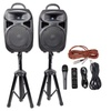 """Rockville Dual 8"""" Powered PA System Speakers/BluetoothMicplusStandsCables"""