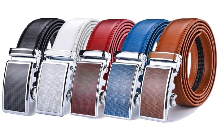 53b0df0939d01f Men's Belts Leather Ratchet Multi-color Dress Belt with Automatic Buckle
