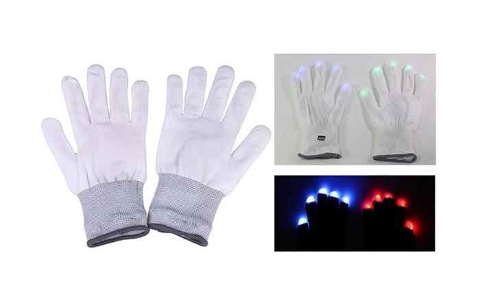 New Pair 6 Mode LED Light Up Flashing Dance Rave White Finger Glove