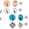 Lesa Michele 2-Pair Swarovski Crystal Stud Earring Set in Stainless Steel