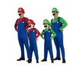 Mens Halloween Super Mario Brother Cosplay Costume with Hat+Mustache