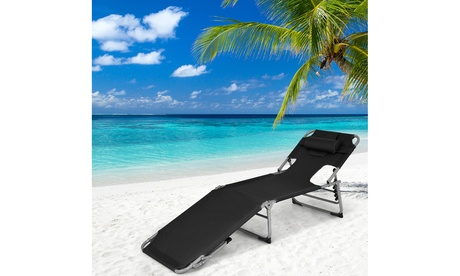 Costway Outdoor Beach Lounge Chair Folding Chaise Lounge with Pillow