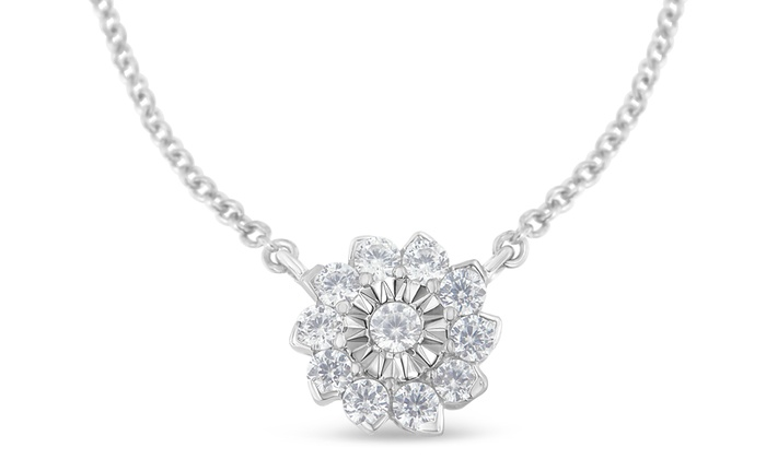 Sterling silver 050ct tdw diamond flower cluster pendant necklace sterling silver 050ct tdw diamond flower cluster pendant necklace i ji1 i2 aloadofball Images