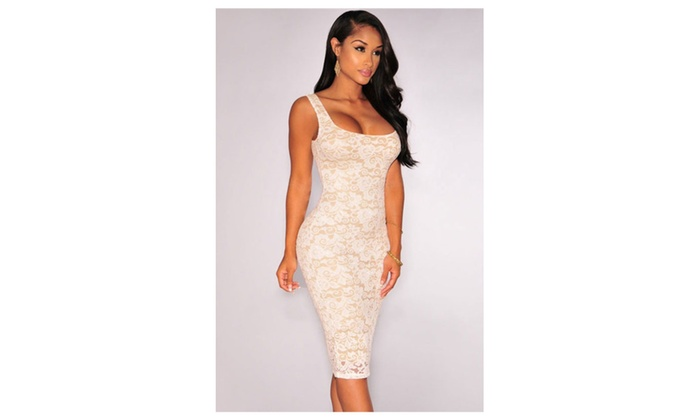 Women's White Floral Lace Nude Illusion Sleeveless Dress