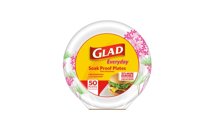 "Beyond Red Tag: Glad 8.5"" Round Paper Plates, Pink Hydrangea, 100 count"