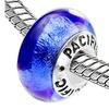 Sterling Silver 'Aruba Blue' Murano-style Glass Bead