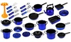 Complete 21 Piece Pretend Toy Kitchen Utensils Kitchenware Set (Colors Vary)