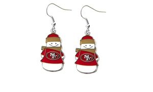 Sports Team Logo NFL Snowman Dangle Logo Earring Set Charm Gift