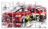 Red Rally Car Metal Wall Art 48x28 4 Panels