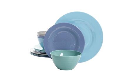 Gibson Home 116936.12 Brist Melamine Dinnerware Set, Blue photo