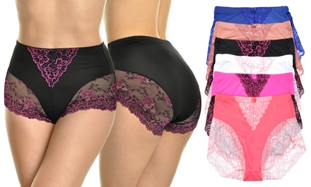 6-Pack High-Waist Briefs with Light-Control Lace Design