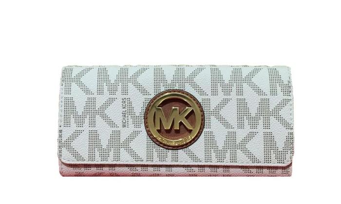 260a5787fac7f8 Michael Kors Signature PVC Fulton Flap Wallet Vanilla | Groupon