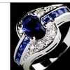 Blue Oval Zircon Stone Wedding Engagement Ring for Women (7,8,9)