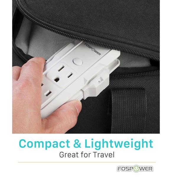 2x FosPower Mini Power Strip 3 Outlet 8.3inch Cord Wraparound Travel Portable