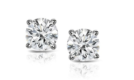 Sterling Silver 1/2 CTTW Diamond Certified Stud Earrings (H-I, I2-I3)