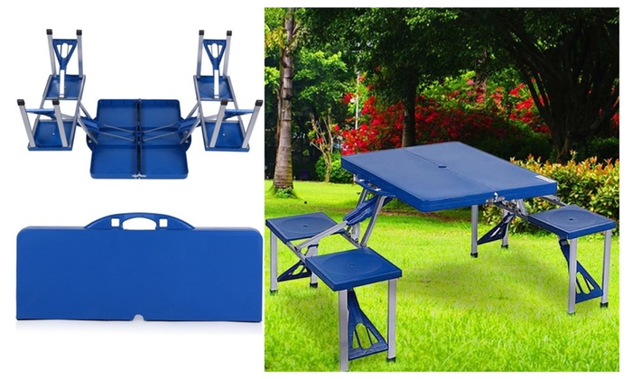 Abs Folding Table Set Portable Outdoor Camp Suitcase 4 Seats Blue 3