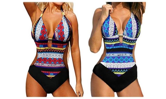 Halter Bohemia One Piece Swimsuit Monokini Beachwear