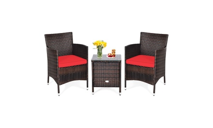 Costway Outdoor 3 PCS PE Rattan Wicker Furniture Sets Chairs Coffee Table Garden