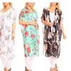 Women's Long Body Rose Flowers Chiffon Kimonos or Cardigans