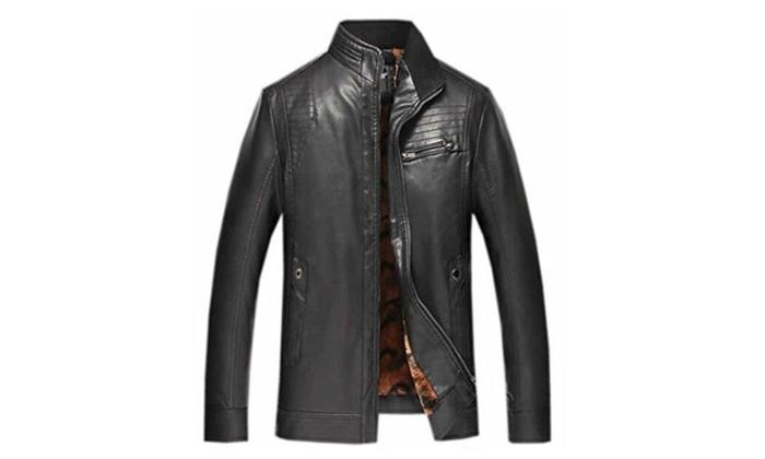 Papijam Men's Warm Casual Stand Collar Zip Velvet Pu Leather Jacket