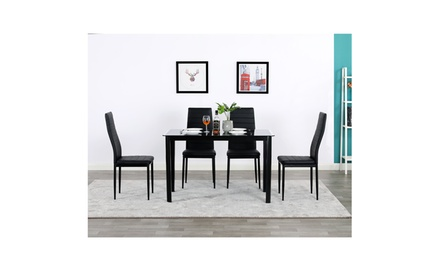 Rectangle Tempered Glass Table & 4 High Backrest Dining Chairs Black