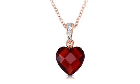 Sterling Silver Red Cubic Heart-shape Necklace 1cf326e2-cc02-474b-8476-dac17ced80de