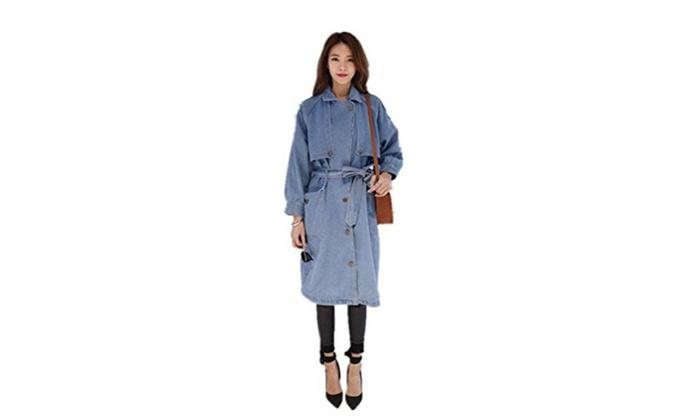 Tengfu Women Casual Loose Single Breasted Blue Long denim Coat Jacket Blazer