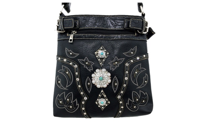 Western Trimmed Leather Rhinestone Concho Stud Messenger Handbag