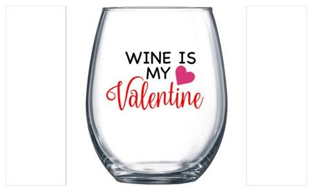 Valentine's Day Wine Glass - Wine is my Valentine 02fa9f4f-dd8f-4d5c-8dfc-9dd28eab7e40