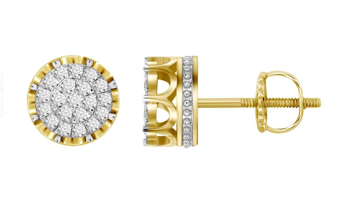 Men S 10k Yellow Gold 1 2 Ct Diamond Stud Earrings 10 30mm Round Cer Studs