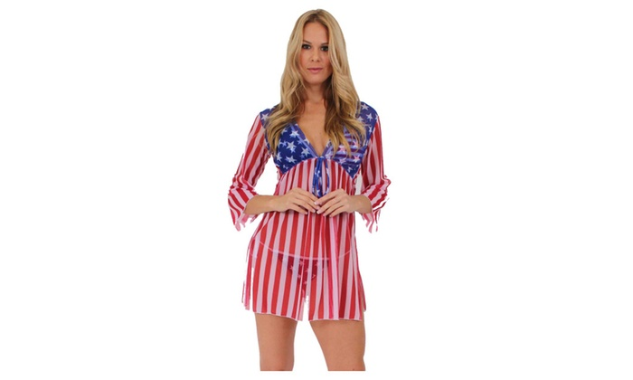 d6ddfe0123 USA Flag Long Sleeve Cover-up Beach Dress Stars and Stripes Swimwear