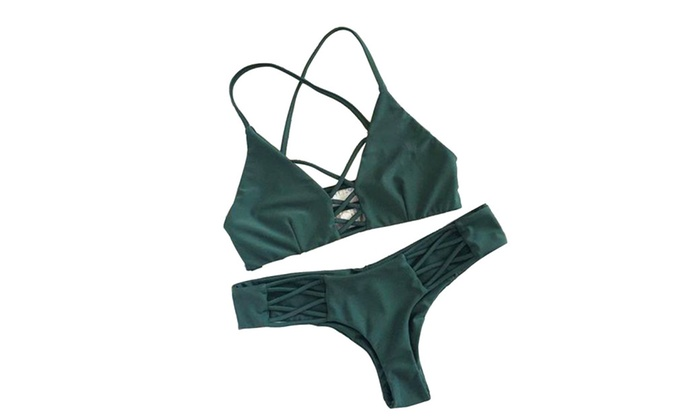 Women 2 Piece Push Up Bikini Solid Color Swimsuit Bikini Set