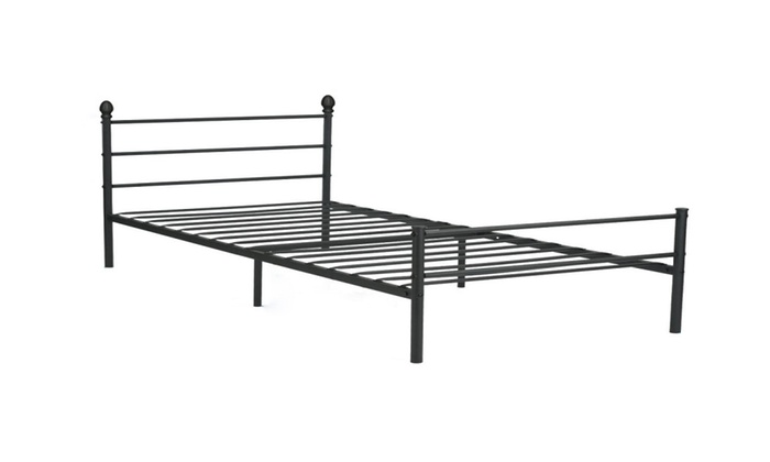 vecelo platform twin metal bed framemattress foundation with headboard - Twin Iron Bed Frame