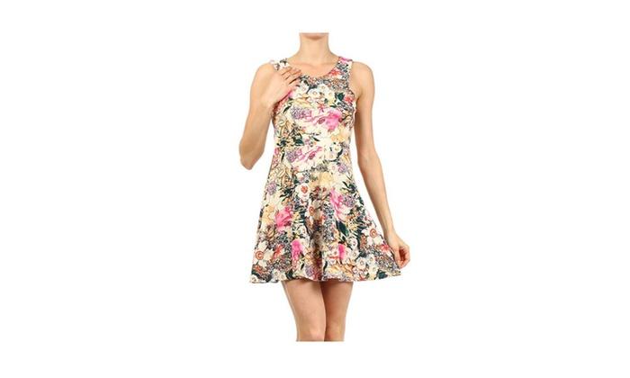 Floral Print Sleevless A-Line Skater Mini Dress - Small
