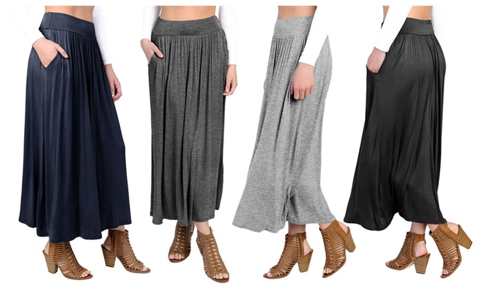 FACA Womens High Waist Shirring Maxi Skirt Ankle Length with Pockets