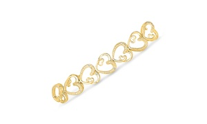 1/10cttw Diamond Heart Bracelet in Gold over Brass