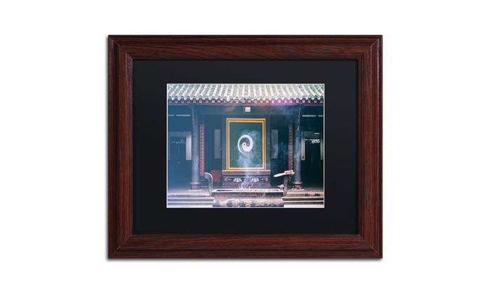 Groupon Goods: Philippe Hugonnard 'Yin Yang' Matted Wood Framed Art