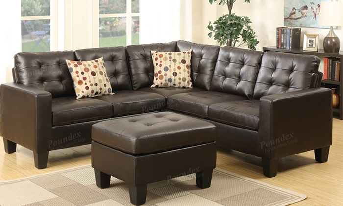 Simple Relax 4 Pcs Sectional Sofa Include The Ottoman And Two Pillows